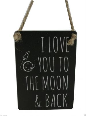 I LOVE YOU TO THE MOON AND BACK MINI METAL SHABBY CHIC SIGN FRIEND LOVER GIFT..